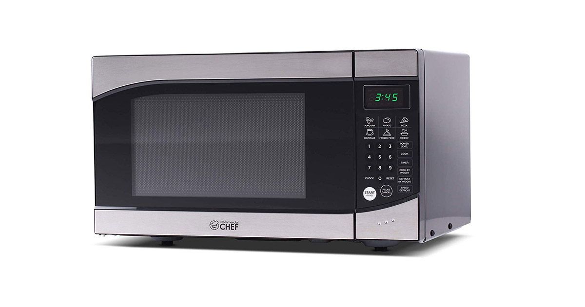 Commercial CHEF CHM009 Westinghouse Countertop Stainless Steel Front Black Cabinet Small Trim Microwave Oven image