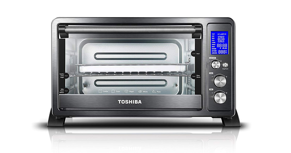 Toshiba AC25CEWBS Digital Convection Black Stainless Steel 6 Slice Bread Toaster oven image